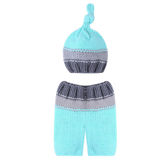 0-4M Infant Photo Props Newborn Baby Girls Boys  Knit Costume  Prop Pants and Hat