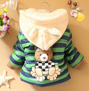 Cartoon Bear Baby Boys Jacket Kids Winter Keeping Warm Cotton Hoodies Coat Children  Clothing