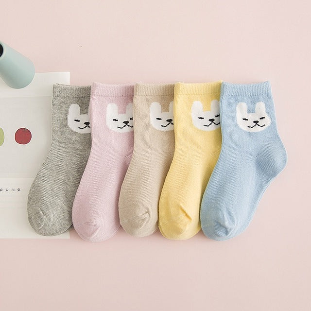5 Pair/lot Soft Cotton Kids Socks Boys Girls Lovely Animal Pattern Suitable For 1-10Y