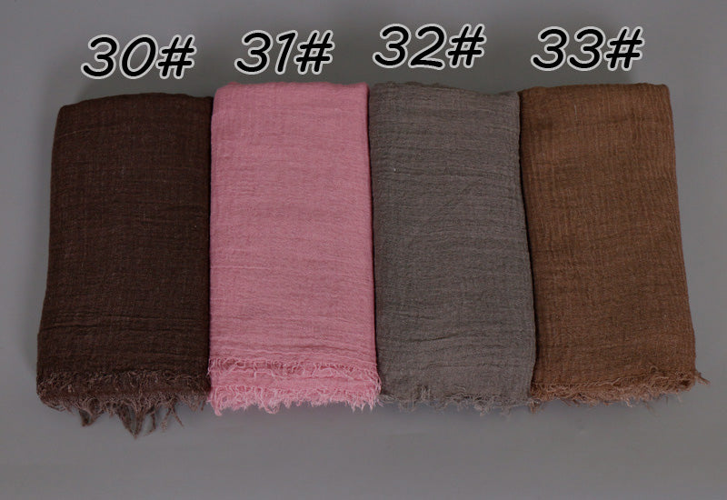 Bubble cotton very popular plain wrinkle scarf shawl wrap muslim hijab 15-32days