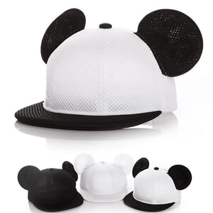 Cartoon Mesh Baby Cap Summer Adjustable Baseball Cap for Children with Ears 2-4y