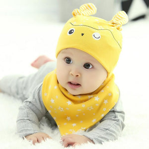 2 pcs / set  Hot Sale Newborn Hats bibs Baby Boy Girls