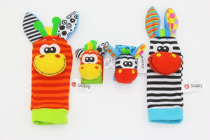 4 pcs/lot Cute Baby Infant Toy Soft Handbells Hand Wrist Strap Rattles/Animal Baby Socks Foot Find