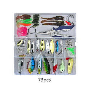 73/101/132/232pcs Fishing Lures Set Mixed Minnow/Popper Spoon Hook
