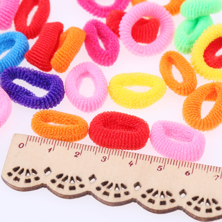 200 Pcs Colorful Child Kids Hair Holders Cute Rubber Hair Band Elastics Accessories Girl Women