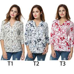 Women Floral Print Blouse Tops 1950s 60s Vintage Autumn Clothing Casual Roll Up Sleeve Cotton Fabric High Quality Blouse