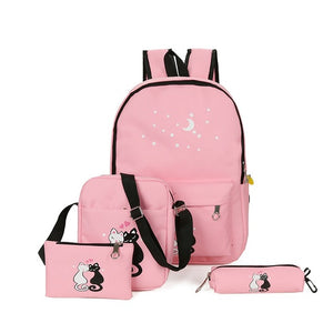 5 Pcs/set Women Backpacks Cat School Bags For Teenage Girls Printing   Ladies Shoulder Bags