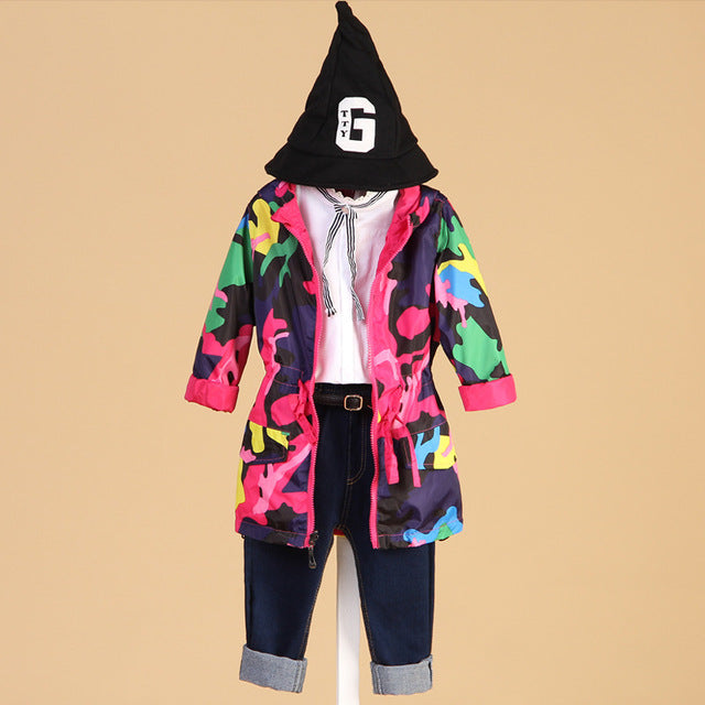 Girls Clothes Girl Jackets Children Coat Kids Spring Outerwear Teengers Camo Hooded Windbreaker