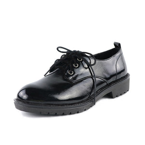 Shoes Women Spring Soft Leather Oxfords Flat Heel Casual Shoes Lace Up Womens