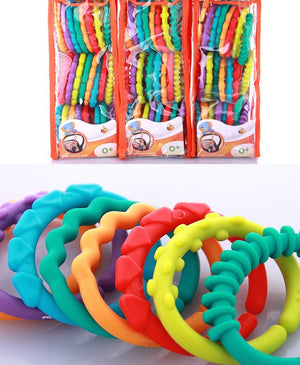 Baby toys 0-12 months kids molars ring teether teddy chain clutch ring apron New Year gifts