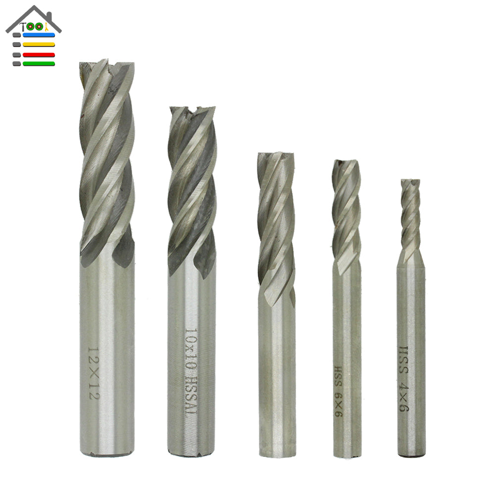 Metalworking Drilling End Mill 5pcs/set HSS CNC Straight Shank 4 Flutes Milling Cutter Metal Drill Bits 4 6 8 10 12mm