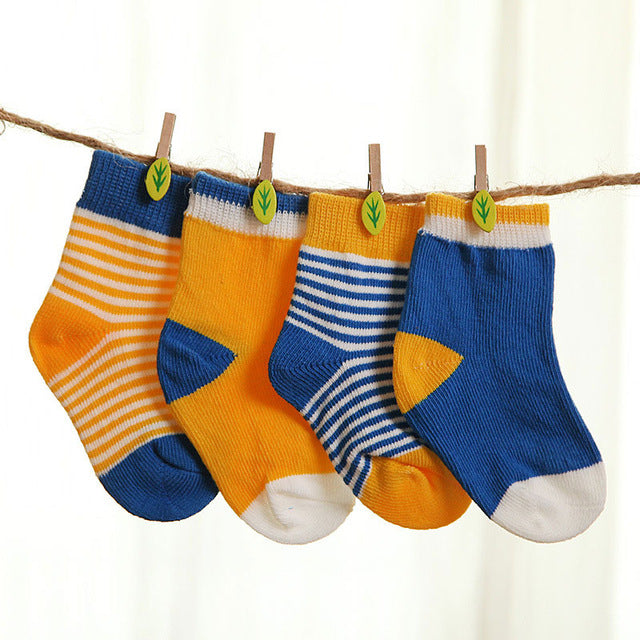 Autumn Winter Spring Baby Socks Set 4 pair Cotton Stripe Newborn Toddler Socks For 0-3 Years