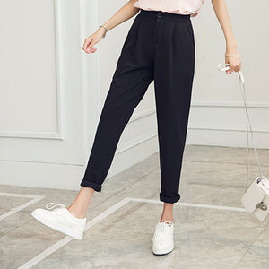 Summer Autumn Students Ladies Harem Pants Cuffs High Waist  Black Pink Cool Thin Trousers Plus Size XXXL 3XL B67223R