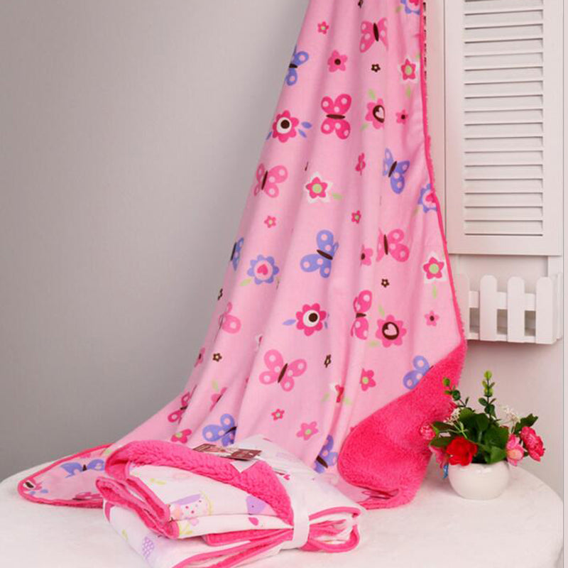 New Double Layer Baby Blankets Spring Autumn Winter Cartoon Sleeping Blanket Wrap For Newborns
