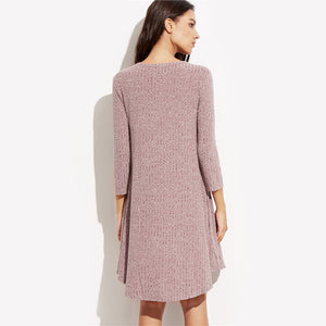 Winter Dresses Women  Burgundy Round Neck Three Quarter Length Sleeve Marled Knit Ribbed Swing Casual Shift Dress