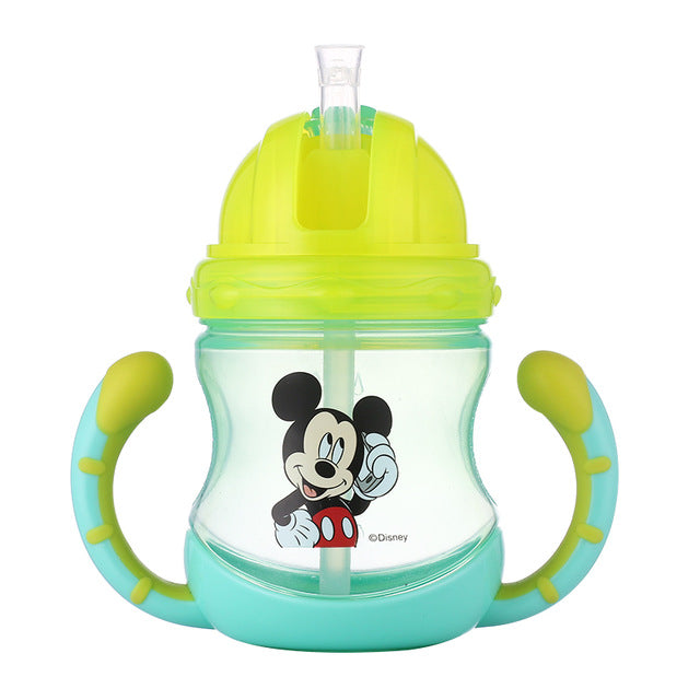 Kids feeding cup with straw Disney Thermos  with handle leak proof Stainless Steel bottle 260ML