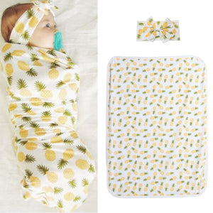 2pcs Baby Wrap Blanket Infant Cotton Pineapple Cute Print Sleeping Bag with Headband