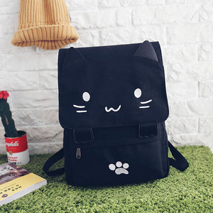 Cartoon Embroidery Backpacks For Teenage Girls School Bag Casual Black Printing