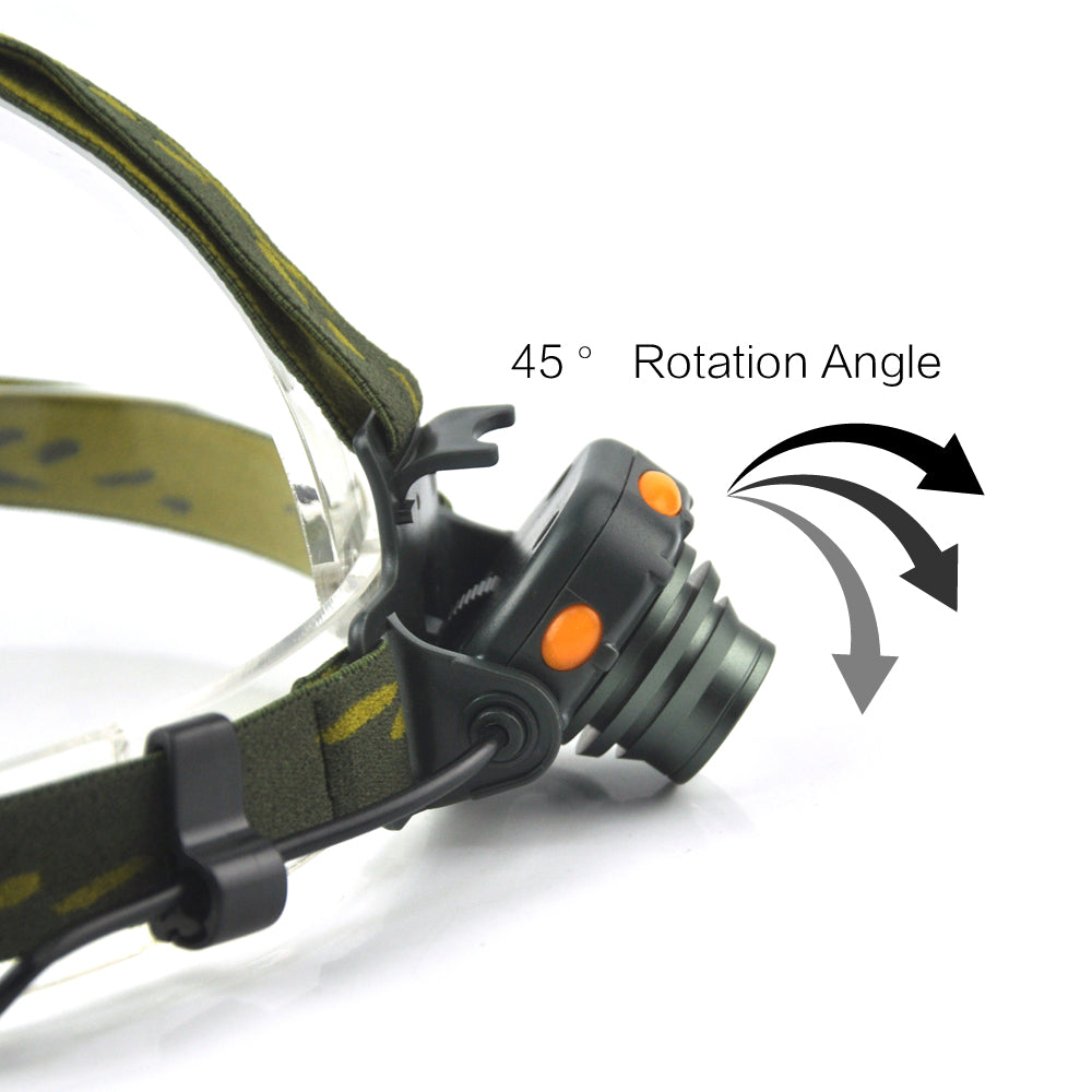2000LM IR Sensor LED Headlight 100M Distance AAA Battery Headlamp Camping Hunting Fishing White Light Head Torch