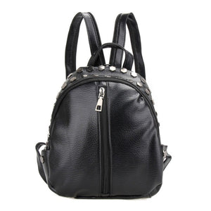 Black Mini Rivet Backpack Women Leather Shoulder Bag Backpacks for Teenage Girls School Bag