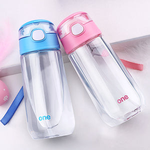 500ML Baby drinking Cups  bottle with straw portable feeding bottle flip lid Plastic leakproot milk