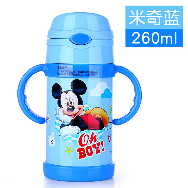 Baby Feeding Thermos cup with straw Mickey Minnie bottle Portable Stainless Steel Vacuum Flask
