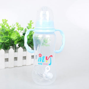 280ML Baby Bottles 2 Colors PP Baby Feeding Cup with  Handles Baby Water Bottle Kids Nursing Bottles