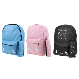 2pcs New Fashion Vertical Square Shaped Women Nylon Cute Backpack Floral Printed Girls School Bag