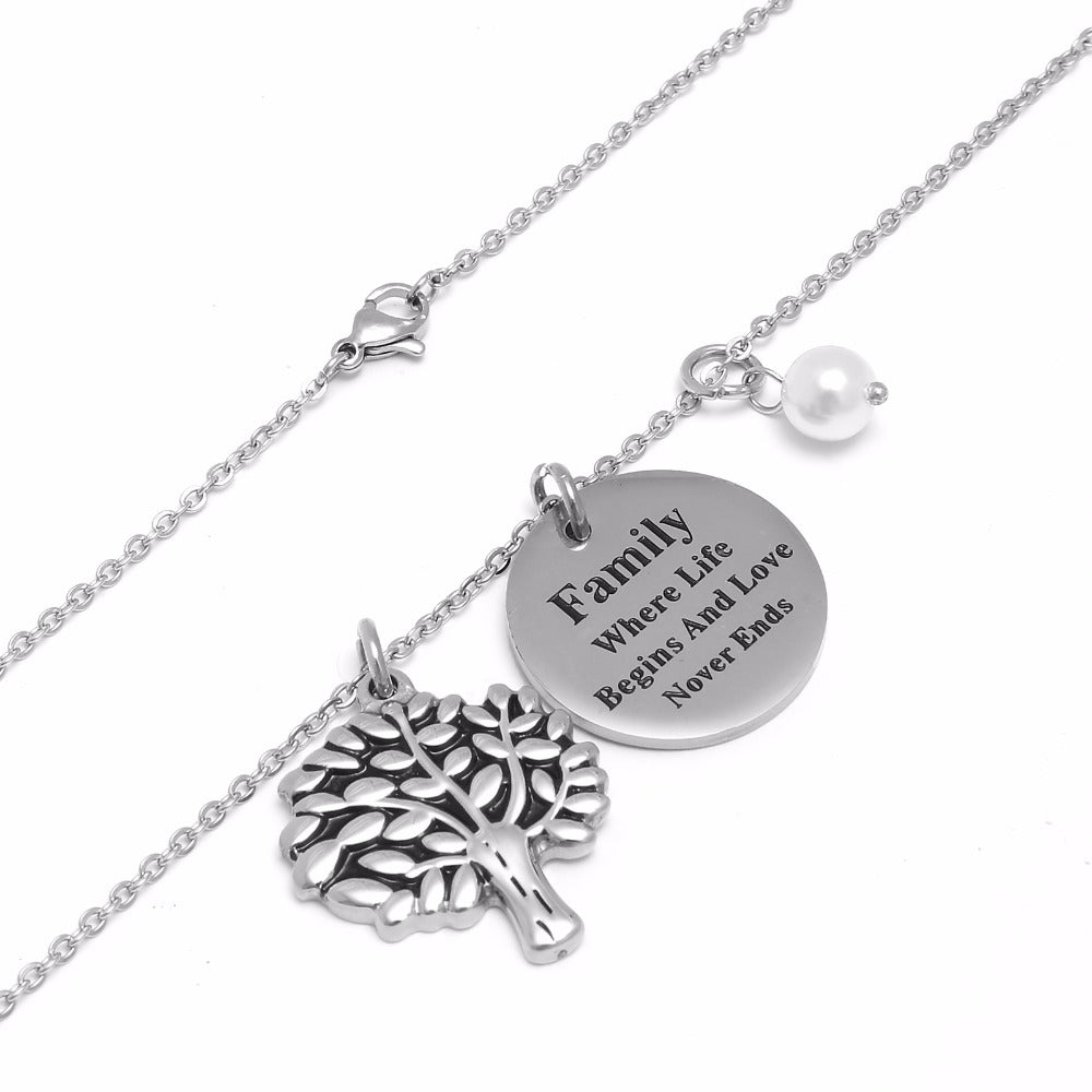 family necklace family where life begins and love nover ends best gift