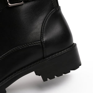 Style Black Ankle Boots Flats Round Toe Back Zip Martin Boots PU Leather Woman Shoes