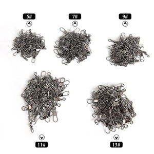 200Pcs/set Brass Barrel Swivel Line Fishing Hook with box Tackle Accessory Tool 5/7/9/11/13#