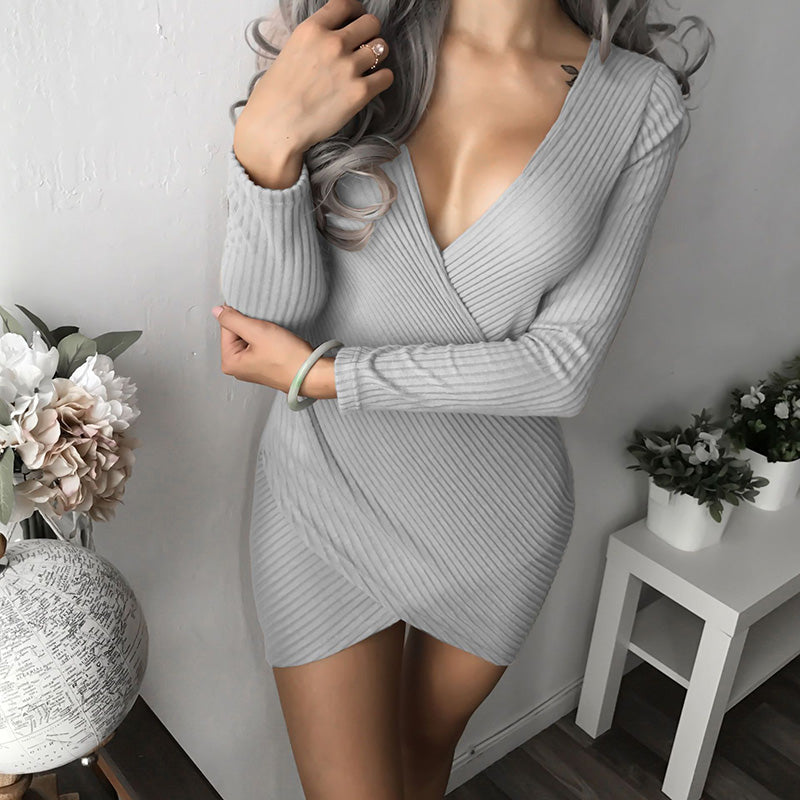 Slim Knitted Party Dresses Women Clothing 2018 Spring Long Sleeve Sexy Criss Cross V Neck
