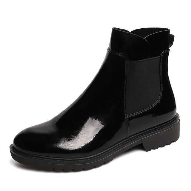 Slip-On Women Boots Spring Autumn Ankle Platform Flat Boots Ladies Boots Black PU Leather Shoes