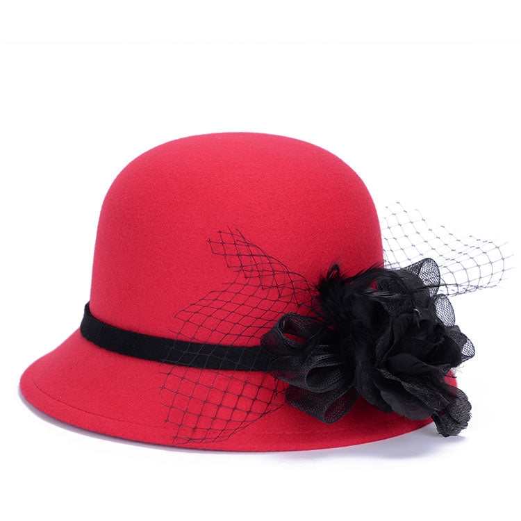 Red Fedora Hats for Women Winter Lady Headgear LQJ01092