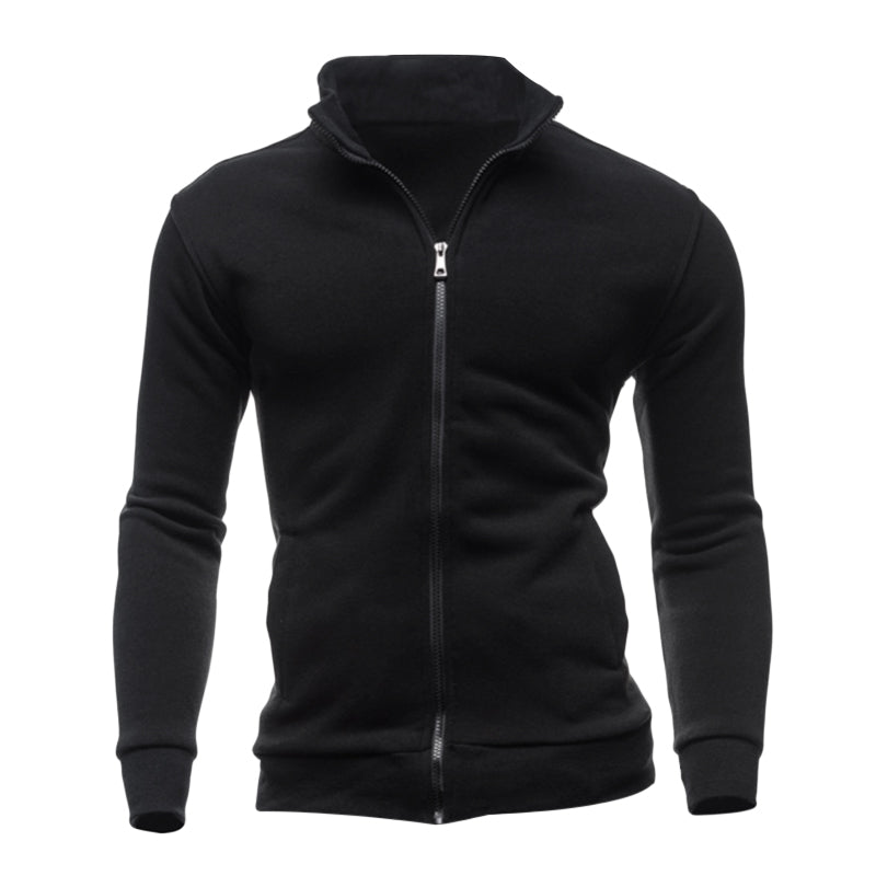 Men Fashion Solid Color Zipper Pockets Sweatshirt Autumn Winter Warm Male Tracksuit Coat