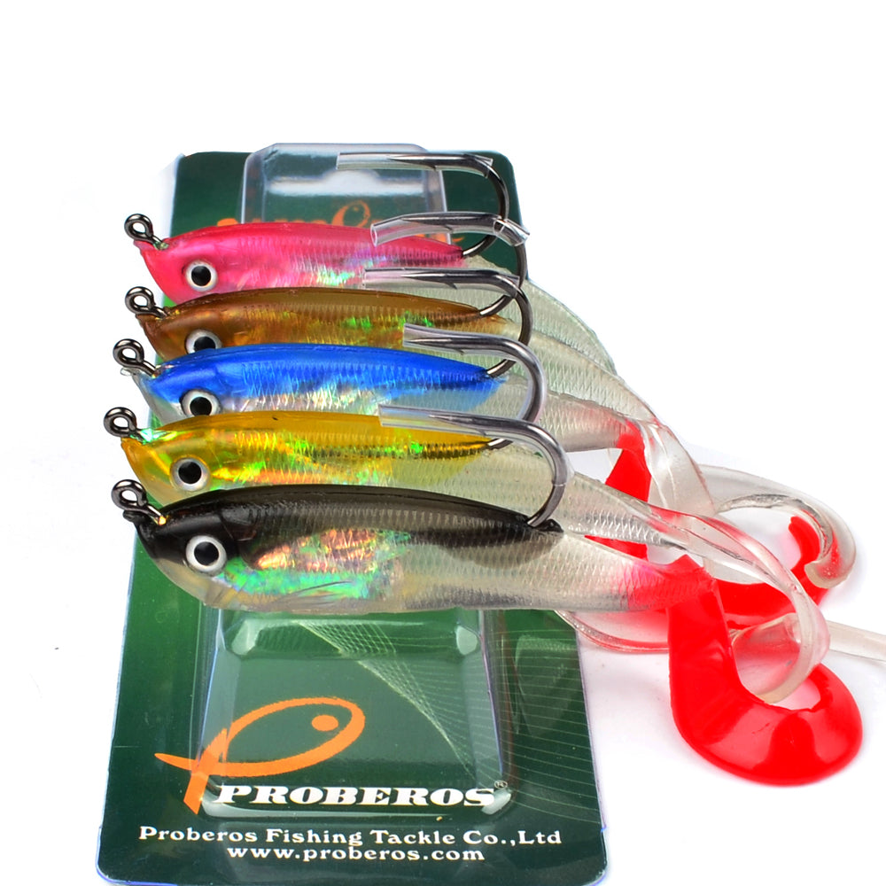 "5PC JIG Hook Soft Bait 5 Color Fishing Lure 10cm-3.9"" Fishing Bait 14.7g-0.52oz"