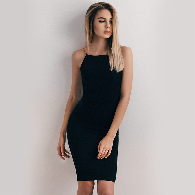 Women Golden Chain Strap Dress Sleeveless Solid Slim Sexy  Knee-Length  Party Dress Little Black Dress Vestidos