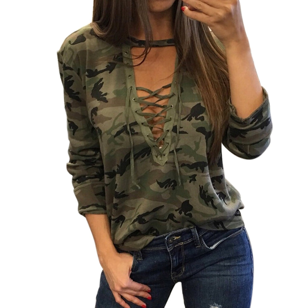 Women Sexy T-shirt Camouflage V Neck Lace Up Tshirt Feminino lacet T shirt