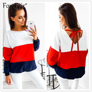 T-Shirt Women Tees Fashion Contrast Color Patchwork Long Sleeve Back V-collar Tied Ribbon Pullovers Tops