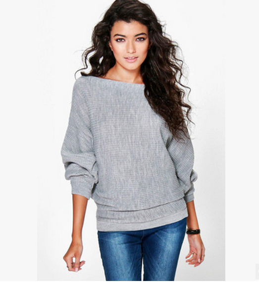 Autumn Winter Knitted Sweater Women Long Batwing Sleeve Slash Neck Loose Pullover