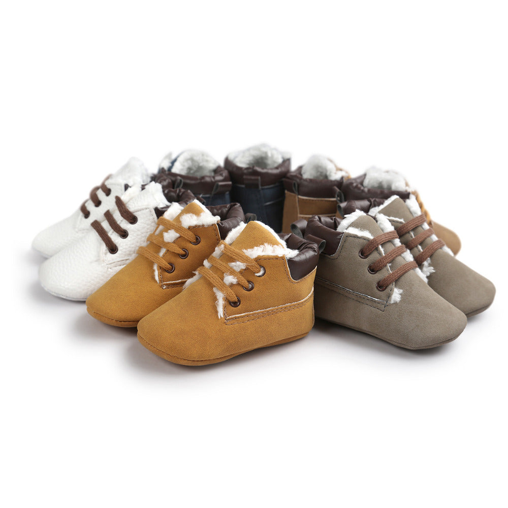 Winter Khaki Lace Up Baby Boots Warm Baby Boys Cotton Shoes Fleece Leisure