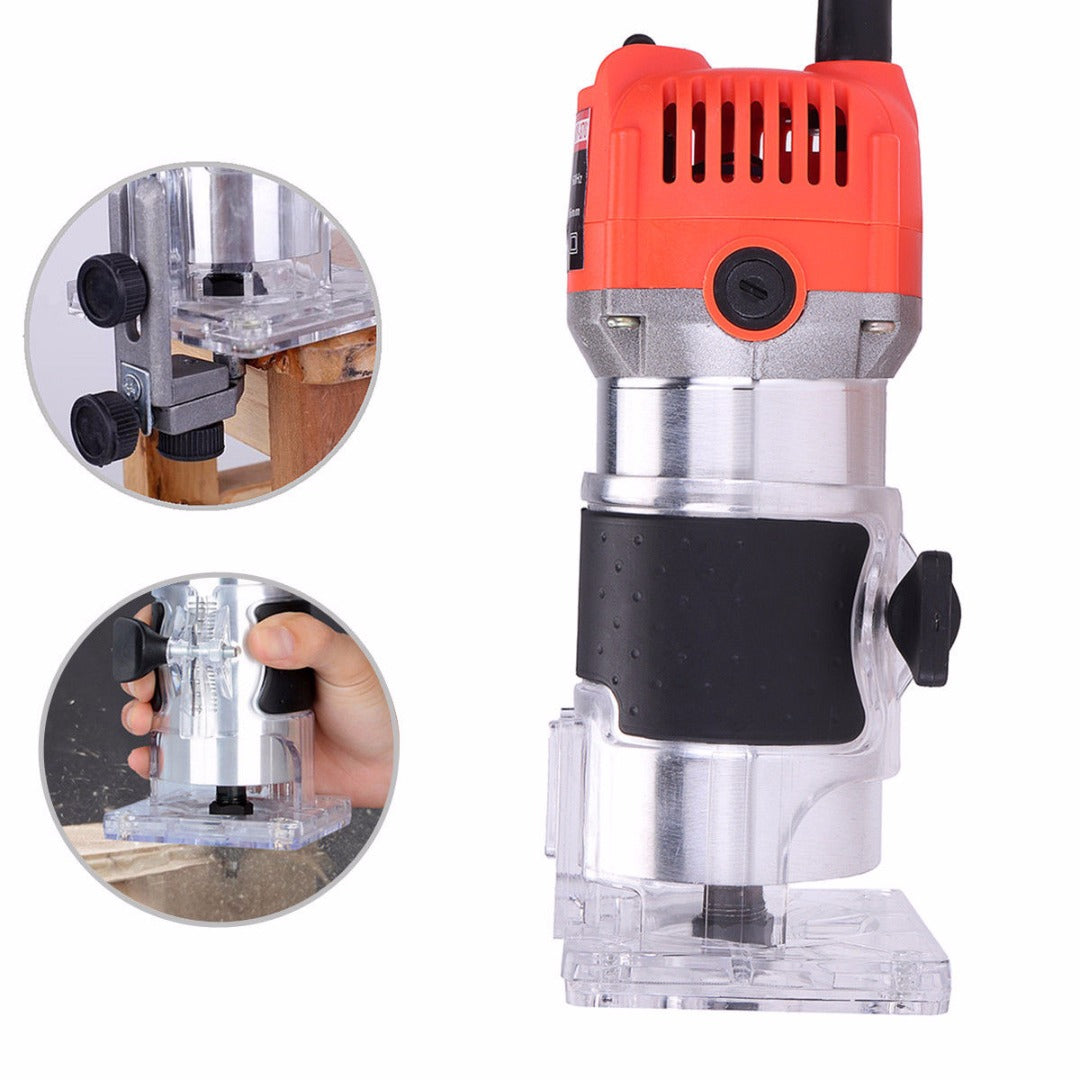 "1/4"" Electric Trim Router Wood Trimmer Router Joiners Tool 110V 750W 35000PRM"