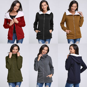 Sweatshirts Coat 2018 Autumn Winter Warm Women Zipper Design Long Sleeve Hooded Outerwear Plus Size 4XL