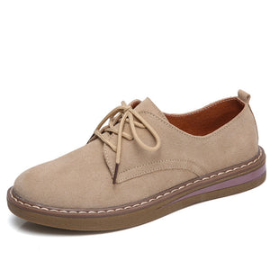 shoes women leather suede lace up boat shoes round toe flats moccasins 989