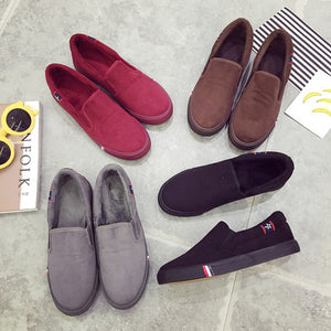 Shoes For Women Shoes Or Lend A Pedal Lazy Loafers With Velvet Students With Flat Shoes