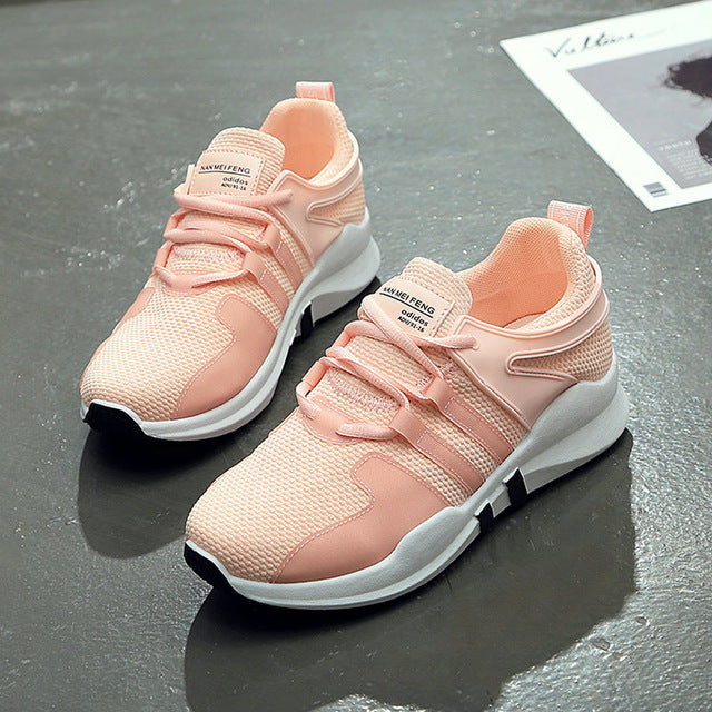 white pink air mesh student breathable lace up outdoor women shoes lightweight woman vulcanized sneakers shoes