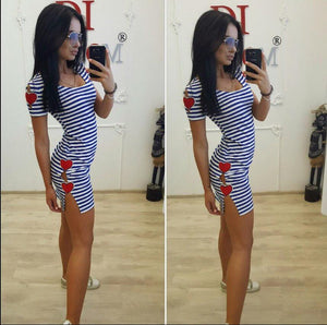 Summer Europe US New Tide Women black white stripe Casual dress Sexy Split Fashion