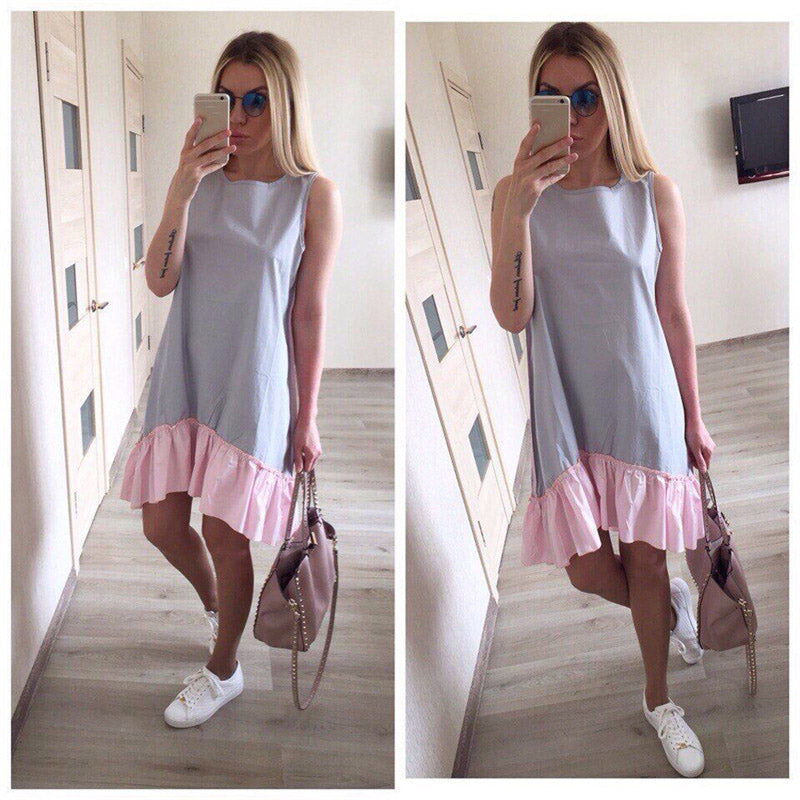 Summer Dresses Sleeveless Ruffles O-Neck Straight Dress Fashion Women Dress Ukraine Vestidos