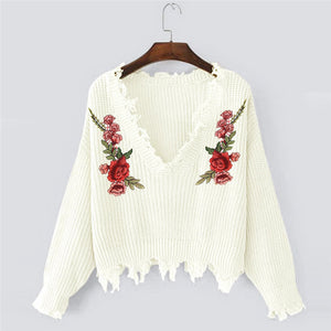 Women Female Sweaters Winter Embroidery Casual Long Sleeve knitting Sweaters Tops Blouse
