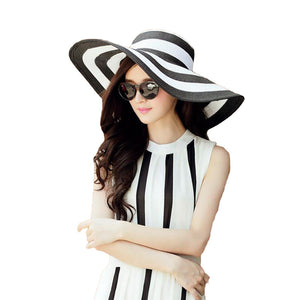 Women's Straw Panama Sun Hat Black Striped Overflowed Floppy Fashion